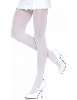Full Length White Plus Size Women's Spandex Tights