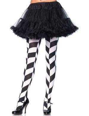 Women's Black and White Chevron Illusion Full Length Pantyhose