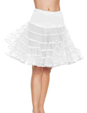 Ruffled White Black Knee Length Petticoat Main Image