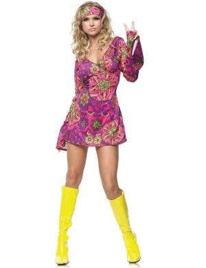 Pink 1960's Retro Hippie Fancy Dress Costume for Women