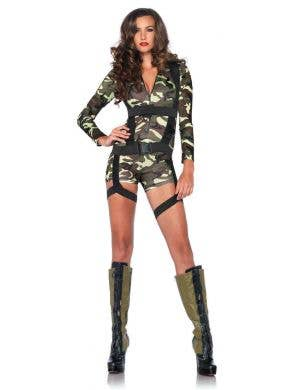 Women's Sexy Army Fancy Dress Costume Front View