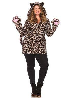 Plus Size Women's Fleecy Leopard Costume