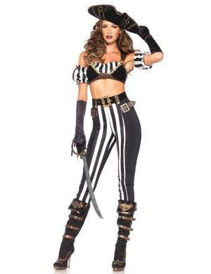 Women's Sexy Black Beauty Pirate Fancy Dress Costume Front View