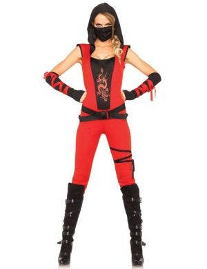 Sexy Women's Red Ninja Assassin Fancy Dress Costume Main Image