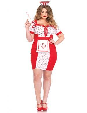 Sexy Plus Size Naughty Nurse Costume For Women Front Image