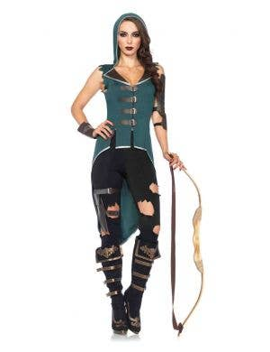 Women's Sexy Robin Hood Fancy Dress Costume Front View