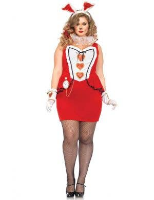 Sexy Plus Size Wonderland White Rabbit Costume For Women Front