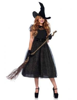 Women's Deluxe Black Witch Halloween Costume Main Image