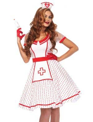 Red Polka Dot Retro Nurse Costume for Women Front Image