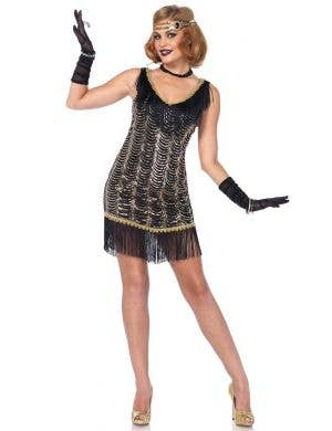 Women's Black 1920's Sexy Gatsby Flapper Costume Main Image