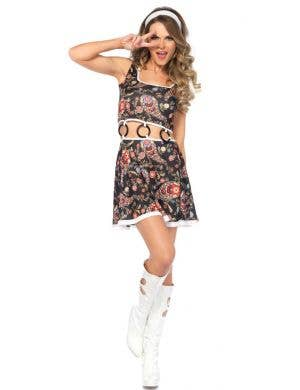 Women's Go-Go Hippie Fancy Dress Costume Front View