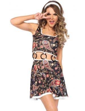 Women's Go-Go Hippie Fancy Dress Costume Front View
