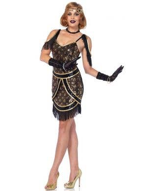 Sexy Black and Gold 1920's Flapper Costume Main Image