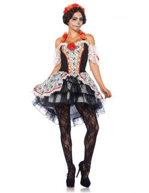 Women's Sugar Skull Day of the Dead Costume Front Image