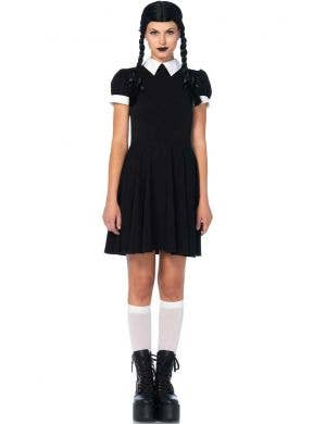 Women's Wednesday Addams Halloween Fancy Dress Costume Front
