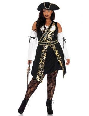 Sexy Black Sea Pirate Plus Size Women's Costume Front Image