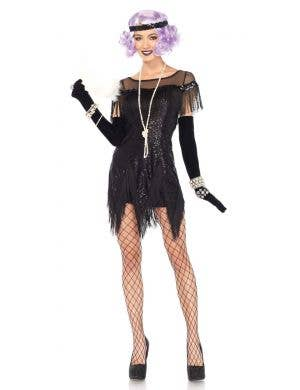 Sequined Black 1920's Women's Fancy Dress Costume Front View