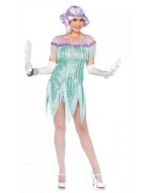 Women's Sequinned Aqua Flirty Flapper Costume Front View