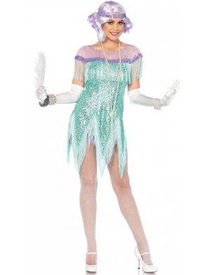 Women's Sequinned Aqua Flirty Flapper Costume Front View