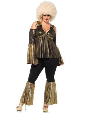 45c2615593 Plus Size Black and Gold Disco Diva Women s Costume Front ...