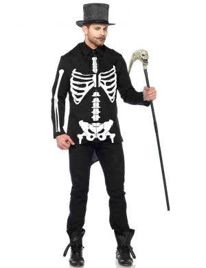 Men's Skeleton Bone Daddy Halloween Fancy Dress Costume Front View