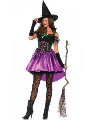 Purple Spiderweb Witch Sexy Women's Halloween Costume Main Image