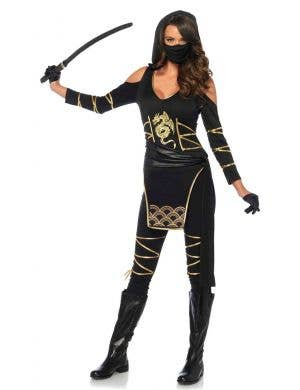 Black and Gold Japanese Ninja Costume for Women Front Image