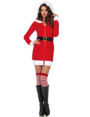 Cozy Santa Women's Hooded Christmas Costume Dress