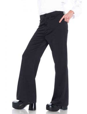Black Bell Bottom Men's 1970's Costume Pants Main Image