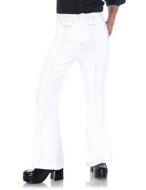 White Bell Bottom Men's 1970's Costume Pants Main Image