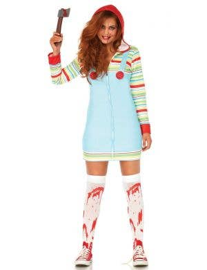 Women's Cozy Killer Doll Chucky Halloween Costume Front View