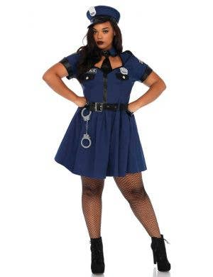 Women's Sexy Plus Size Classic Cop Costume Front View