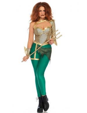 Women's Sexy Aqua Warrior Aquaman Costume Front View