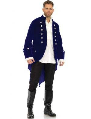 Velvet Navy Blue Men's Tail Coat Costume Jacket