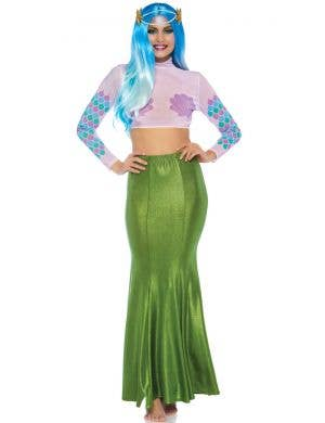 Shimmer Green Spandex Women's Plus Size Mermaid Skirt