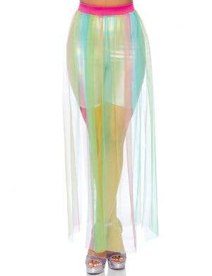 Sheer Rainbow Multi Slit Women's Maxi Skirt Costume Accessory