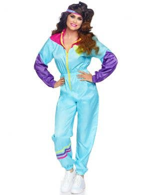 Retro 1980's Women's Light Blue Shell Suit Costume