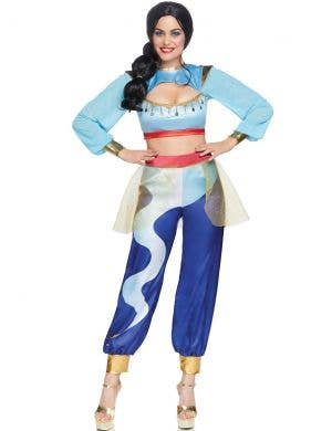 Arabian Women's Deluxe Blue Genie Fancy Dress Costume