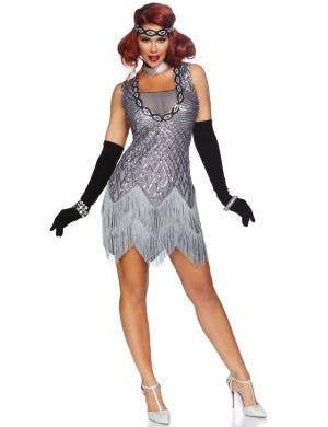 Roaring Roxy Women's Deluxe Silver Flapper Costume
