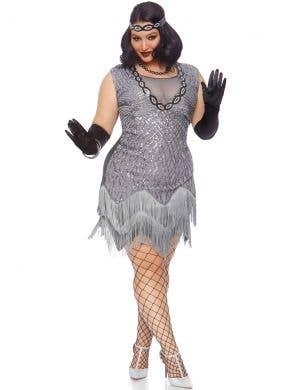 Roaring Roxy Plus Size Women's Silver Gatsby Costume