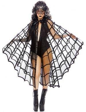 Velvet Black Spider Web Halloween Costume Cape
