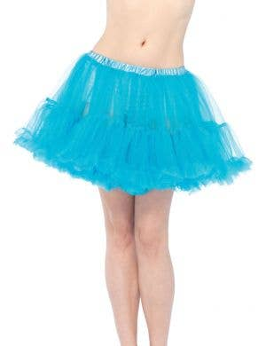 Ruffled Blue Women's Thigh Length Petticoat