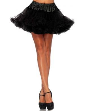 Thigh Length Black Plus Size Mesh Petticoat