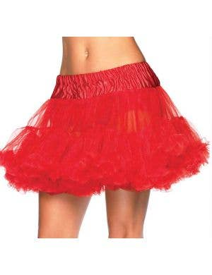 Plus Size Ruffled Thigh Length Red Costume Petticoat