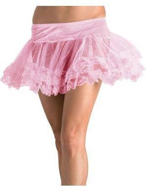 Women's Pink Lace Trim Petticoat