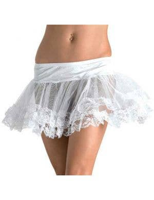 Women's White Lace Trim Petticoat Front View