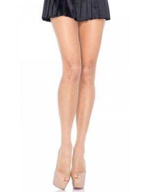 Full Length Women's Fishnet Stockings in Nude