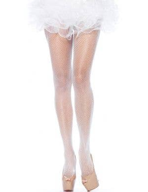 Full Length Plus Size Women's Fishnet Stockings in White