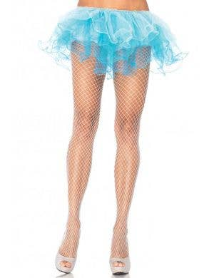 Plus Size White Industrial Net Spandex Costume Stockings