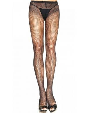 Black Fishnet Stockings with Rhinestone Details Front View